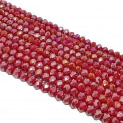 Szkło oponka fasetowana 8x6mm koraliki sznur - ciemno czerwony ab