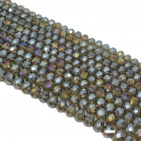 Szkło oponka fasetowana 8x6mm koraliki szklane sznur - brązowy ab