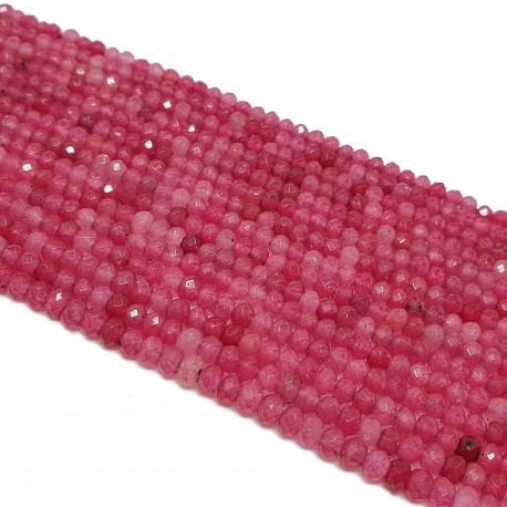 Jadeit fasetowany 4x3mm oponka sznur - fuksja