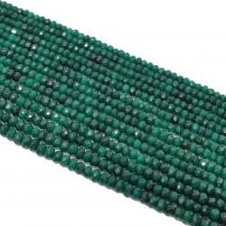 Jadeit fasetowany 4x3mm oponka sznur - butelkowa zieleń