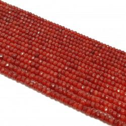 Jadeit fasetowany 4x3mm oponka sznur - buraczkowy