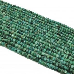 Jadeit fasetowany 4x3mm oponka sznur - zielony