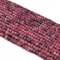 Jadeit fasetowany 4x3mm oponka sznur - jasna czerwień
