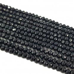 Jadeit fasetowany 4x3mm oponka sznur - czarny