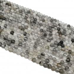 Kwarc szary 4mm gładka kulka - sznur