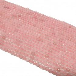 Kwarc różowy 6mm fasetowana kulka - sznur