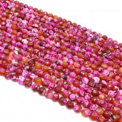 Agat Ognisty 6mm fasetowana kulka różowo-pomarańczowy - sznur