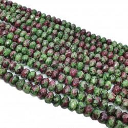 Zoisyt z Rubinem 5x8mm oponka fasetowana - sznur