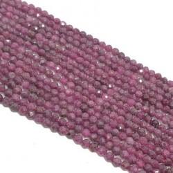 Rubin 2,5-3mm fasetowana kulka - sznur