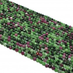 Zoisyt z Rubinem 3mm fasetowana kulka - sznur
