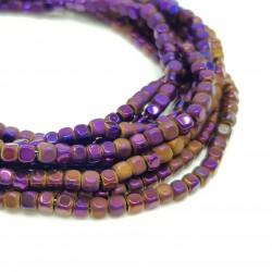 Hematyt 3x3mm kostka błyszcząca/matowa fioletowy - sznur