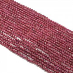 Granat 2mm fasetowana kulka - sznur