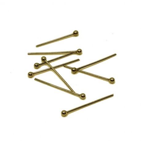 Szpilki jubilerskie z kuleczką 25mm stal nierdzewna złota - 10 sztuk