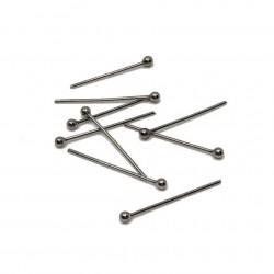 Szpilki jubilrskie z okrągłą główką 20mm stal nierdzewna - platynowy /6szt