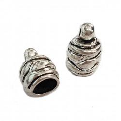 Ozdobne końcówki do wklejania 9,5mm cyna - srebrny / 2 szt