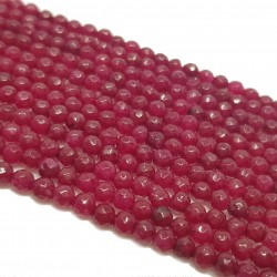 Jadeit 3mm fasetowana kulka sznur - bordowy