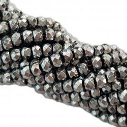 Hematyt fasetowana oponka 4x3mm sznur - srebrny