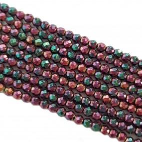 Hematyt 3mm fasetowana kulka sznur - czerwony