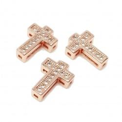 Przekładka ozdobna krzyżyk z cyrkoniami 10,5x7,5mm - różowe złoto