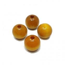Koraliki drewniane 16mm lakierowane kulki - żółte