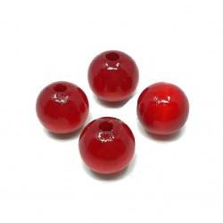 Koraliki drewniane 16mm lakierowane kulki - czerwone