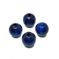 Koraliki drewniane 16mm lakierowane kulki -ciemno niebieskie