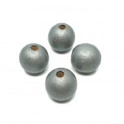Koraliki drewniane 16mm lakierowane kulki - srebrne