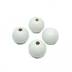 Koraliki drewniane ok. 20mm lakierowane kulki w kolorze białe
