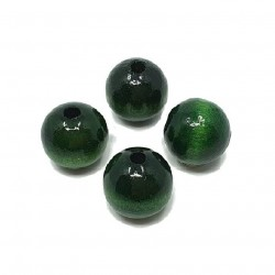 Koraliki drewniane 20mm lakierowane kulki -  ciemno zielone