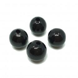 Koraliki drewniane 20mm lakierowane kulki -  czarne