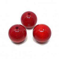 Koraliki drewniane 25mm lakierowane kulki - czerwone