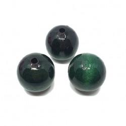 Koraliki drewniane 25mm lakierowane kulki - ciemno zielone