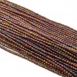 Hematyt 2mm fasetowana kulka odcienie burgundu mix - sznur