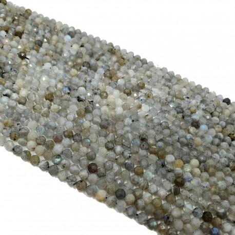 Labradoryt 4-4,5mm fastowana kulka szary - sznur
