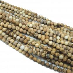 Jaspis Krajobrazowy 6mm gładka matowa kulka - sznur